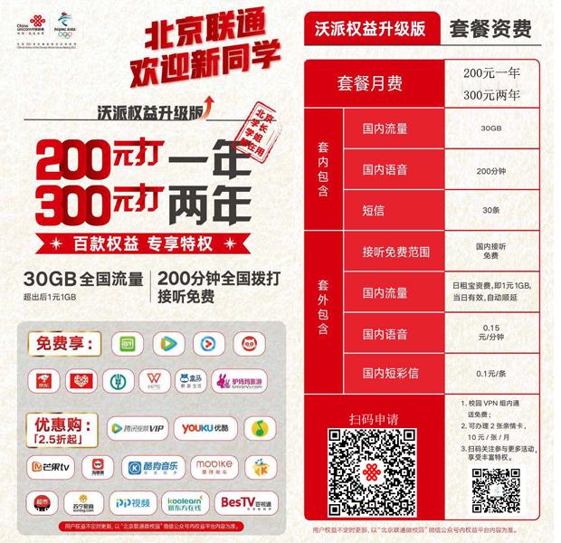 北京联通卡12.5元/月,30GB流量+200分钟,申请无限制