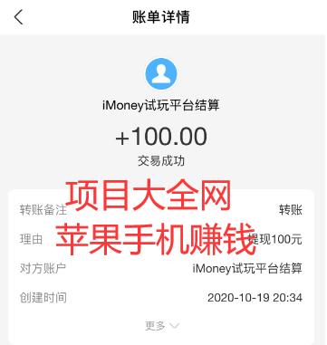imoney苹果手机赚钱提现到账100元  第1张